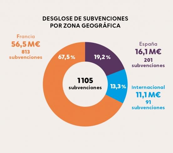 Desglose de subvenciones por zona geográfica 2010-2019